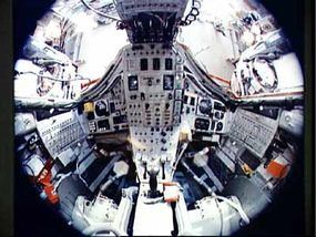 A fish-eye view of the interior of the Gemini capsule.
