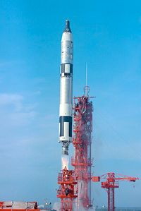 A Titan II rocket carrying the Gemini VI capsule launches. See more Gemini images.