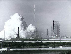 A distant view of the Gemini VI launch.