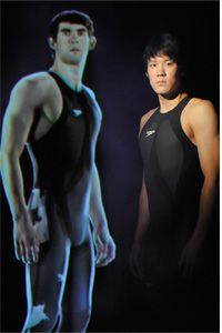 The virtual Michael Phelps and the real swimmer Park Tae-Hwan in the swimsuit that got people buzzing about bodily enhancement