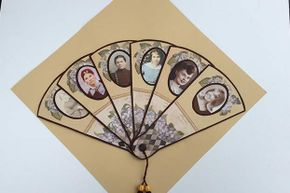 This Victorian-style fan was created by Nancy Merrill to show six generations of women in her family.