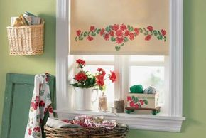 Learn how to stencil this Geranium Window Shade in this article.