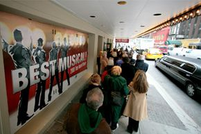 """Theatergoers line up for tickets to see the Broadway musical """"Jersey Boys."""""""