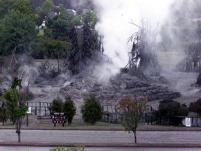 People should be careful around geysers. In 2001, an erupting geyser in Kuirau Park, New Zealand, damaged trees in the area and splattered the park with mud.