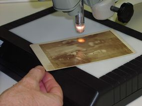 Sometimes, the microscope can help reveal hard edges where a figure has been cut out and placed onto a negative.