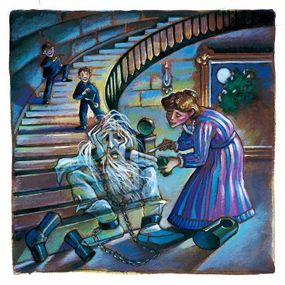 Mrs. Otis tries to cure the Ghost's ails with a spoonful of medicine.