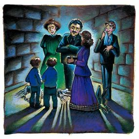 The Otis family finds the body of Sir Simon.