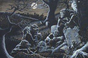 A pack of ghouls ravage their repulsive repast.
