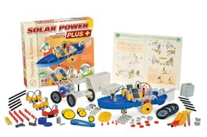 You can assemble 22 solar-powered models including a scooter, locomotive, forklift, solar-wind sail car and a cement mixer.