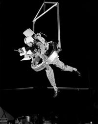 The One-Man Extravehicular Gimbal Arrangement (OMEGA) lets NASA test subjects maneuver as if they were in a zero-g environment.