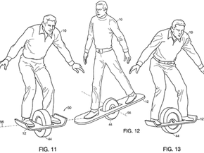 Several alternative Segway designs from one of Dean Kamen's patent applications