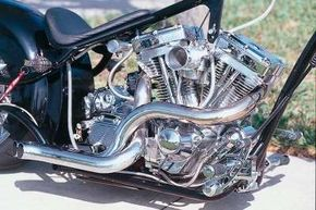 The Girder chopper's snaked exhaust pipes are hand-bent by the builder for a distinctive look.