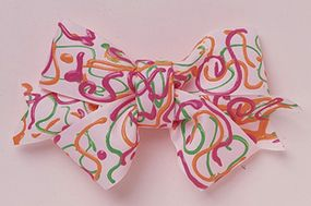 Use a plain white bow and brightly colored paints to create a lively bow.