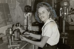 This unnamed young woman is believed to be the first female tool and die maker in Canada in 1941.