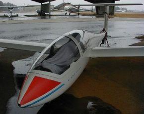 The glider's fiberglass construction enables a sleek, smooth design.