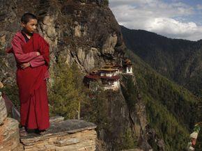 A young Buddhist monk outside of Paro, Bhutan.