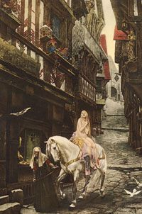 Lady Godiva, escorted by a nun, is oblivious to Peeping Tom's watchful eyes.