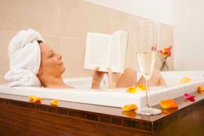 A good book and a glass of wine in the tub are fine if you're the only occupant of the bathroom. If not, make it quick and clean out the hair before you exit.