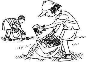 Pieces of ordinary refuse become game pieces in the backyard bingo good Samaritan activity.