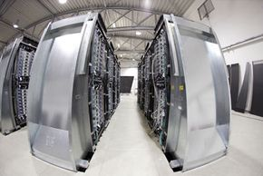 In its Blue Cloud initiative, IBM wants to network its massive computers, like this one at a research center in Jülich, Germany, to create a powerful cloud.