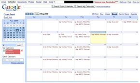 The monthly view of Google Calendar resembles a traditional calendar.