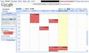 A Google Calendar with appointments