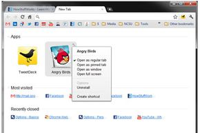 This is the New Tab Page. The user is accessing the options menu for one of the installed Google Chrome apps.