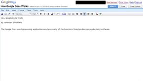 The Google Docs word processing application emulates many of the basic functions of traditional desktop software.