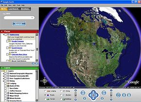 Google Earth launch page with toolbars.