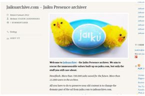 When Google announced in late 2011 that it was shutting down the Jaiku service for good, a group of dedicated users set up an archiving system so account holders could preserve the conversations and content from the social site.