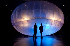 A Google Project Loon balloon on display at the Airforce Museum in Christchurch, New Zealand on June 16, 2013.