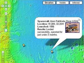 """Screenshot of Google Mars with the """"spacecraft"""" feature turned on"""