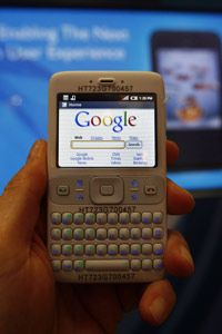 One of the smartphones Google used to demonstrate an early version of Android