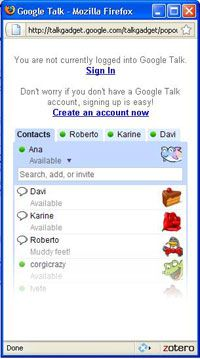 The Web-based Google Talk gadget doesn't have all the bells and whistles found in the desktop version.