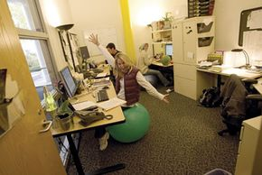 Google employees in their office space