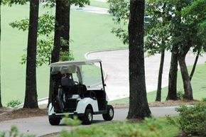 A golfer drives down a hill in a golf cart at Ross Bridge Golf Resort and Spa in Hoover, Ala., on June 10, 2008.