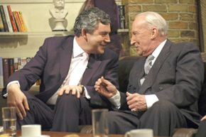 """British politician Gordon Brown and """"House of Cards"""" actor Ian Richardson in 2006."""