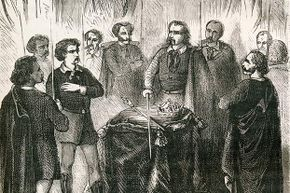 This 1867 engraving shows an Illuminati initiation; some people believe the Illuminati is part of the New World Order.