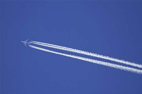 The contrails made by airplane exhaust are thought by some conspiracy theorists to actually be trails of chemical agents designed to harm people.