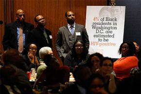 About 100 researchers, public officials, activists and community leaders participated in a town hall meeting focused on HIV/AIDS infection among African-Americans in Washington, D.C. in 2009.
