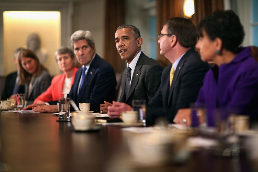 President Barack Obama makes a brief statement to the news media during a meeting with his cabinet.