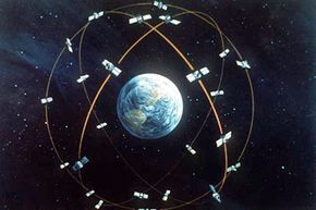 Artist's concept of the GPS satellite constellation
