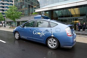 This Google self-driving car maneuvers through the streets of Washington, D.C. on May 14, 2012.