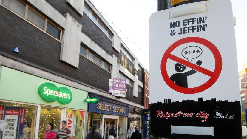 no swearing sign England
