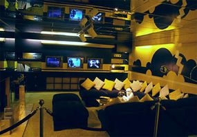 "The TV lounge in Graceland's basement may be the first example of a ""man room."""
