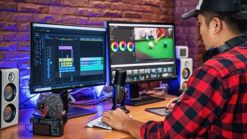 man making video graphics