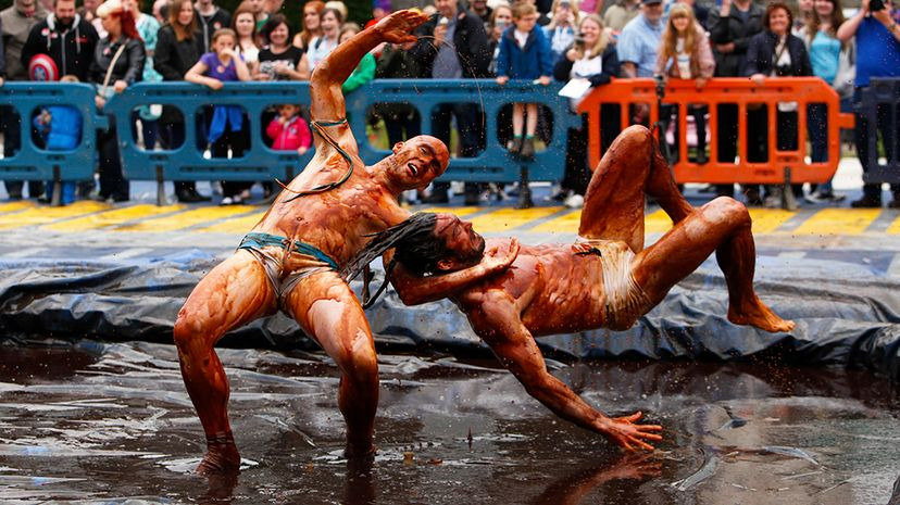 Competitors wrestle for greasy glory at the annual World Gravy Wrestling Championships in Lancashire, England. Alan Martin/ActionPlus/Corbis/Getty Images