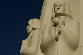 Newton set forth the idea that gravity was a predictable force. His cumulative work earned him a monument at the Griffith Observatory (that's astronomer William Herschel on the left).