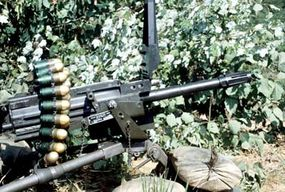 This Mark 19 Mod 3 machine gun fires grenade rounds rather than ordinary bullets.