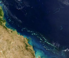 Several different types of reefs are found within the Great Barrier Reef Marine Park. This aerial photograph shows how the reefs get farther from the mainland as you move south.